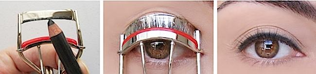time saving beauty hacks eyeliner eyelash curler
